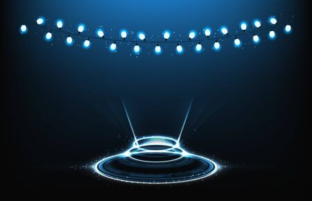 abstract background futuristic of warp teleport panel display technology with lamp