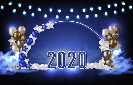 abstract background of blue arch balloons and 2020 new year text, futuristic party technology concept Illusztráció
