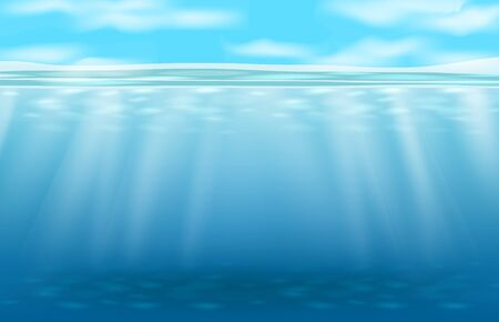 abstract background of deep blue underwater and light ray