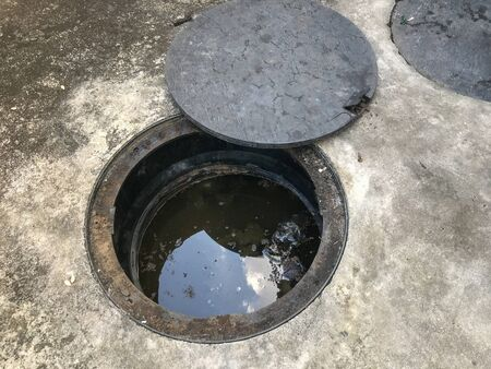 plastic pit drain sewer of the toilet of modern house
