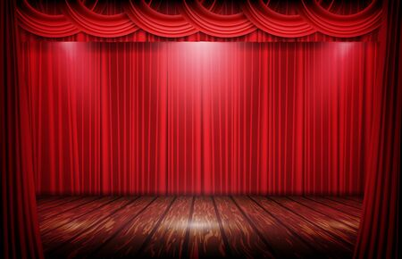 abstract background stage of red curtain and wooden floor