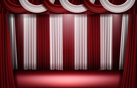 abstract background of red and white curtain and stage light Illusztráció