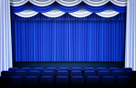 abstract background of blue Theater drapes and stage curtains and seats