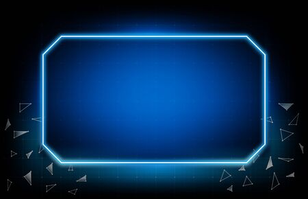 abstract background of glowing blue frame ui hud display