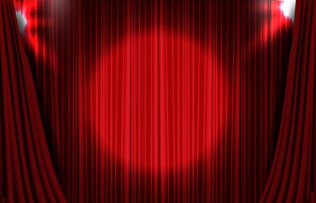 abstract background of red curtain with round glowing spotlight ray backdrop Vettoriali