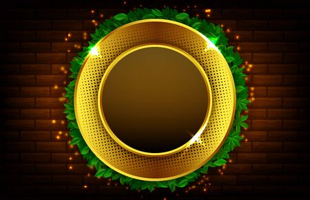 abstract background of luxury glowing gold round shape with leaves
