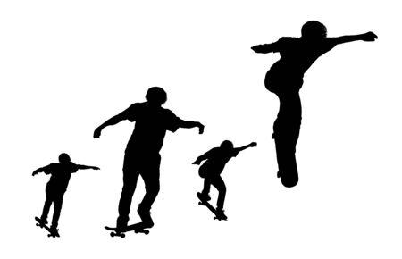 silhouette black set of men skateboard on white background