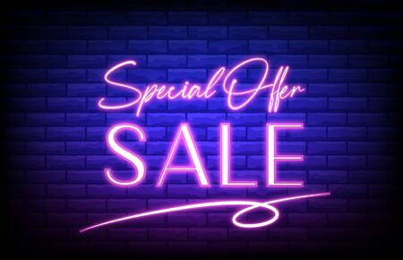 abstract background of special offer neon sign with brick wall