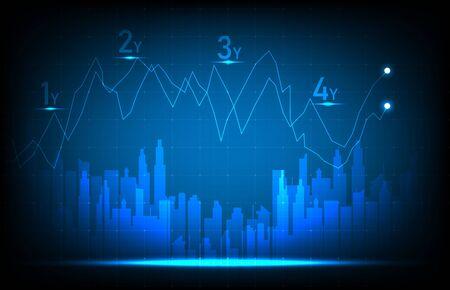 abstract background of stock market exchange graph investment trading vector design Ilustração