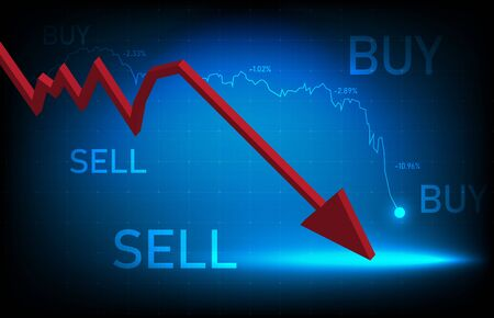 abstract background of crisis stock market exchange graph down, investment trading vector design