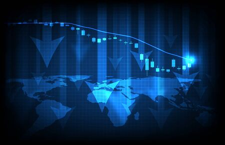 abstract background of futuristic technology blue world maps and economy crisis down stock market graph