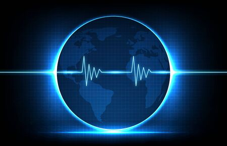 abstract background of digital ECG heartbeat pulse line wave monitor and globe world maps europe and america Vettoriali
