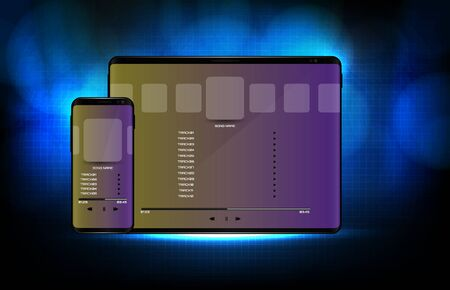abstract background of blue futuristic technology song application media player user interface ui on smart mobile phone and tablet