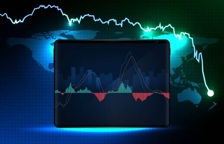 abstract background of blue futuristic technology trading stock market MACD indicator technical analysis graph, Moving Average Convergence Divergence on smart tablet Иллюстрация