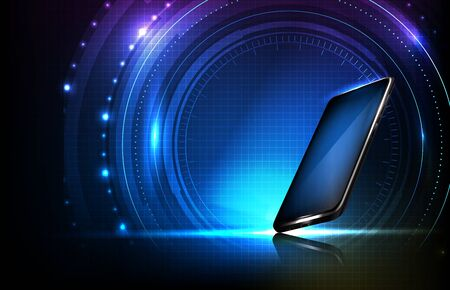 abstract background of round futuristic technology user interface screen hud and smart mobile phone Ilustracja