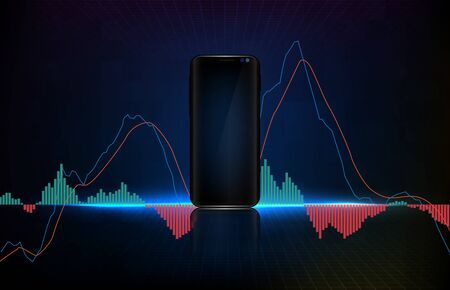 abstract background of trading stock market MACD indicator technical analysis graph, Moving Average Convergence Divergence on blank smart mobile phone Ilustração Vetorial
