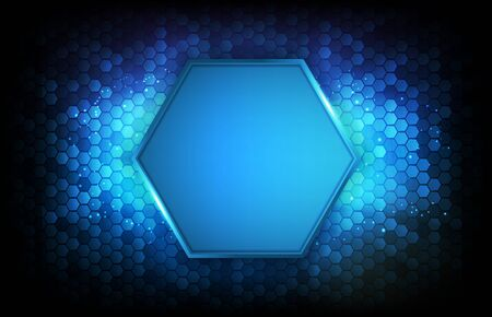 abstract futuristic background of blue glowing hexagon
