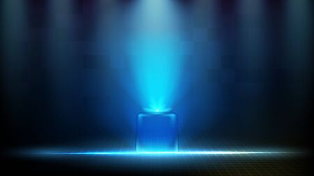 abstract futuristic background of blue glowing square technology hologram Vector Illustration