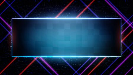 abstract futuristic background of blue Printed Circuit Board and neon square frame Vettoriali