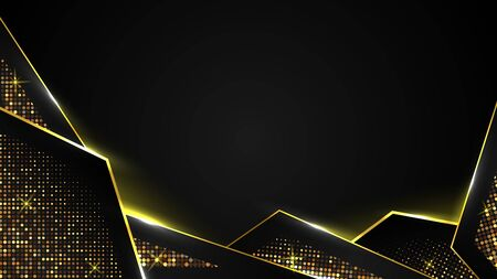 abstract black luxury background of dark gold paper triangle and golden sparkle, elegant Premium Vector, Cover layout template Illusztráció