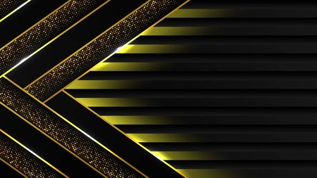 abstract black luxury background of dark gold line and sparkle , elegant Premium Vector, Cover layout template Vectores