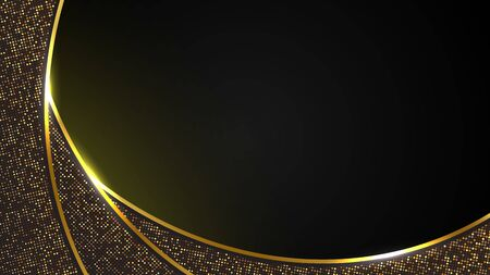 abstract black luxury background of modern dark gold curve line and golden sparkle, elegant Premium Vector, Cover layout template Stock fotó - 150378533