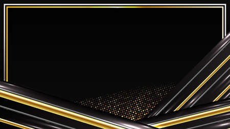 abstract futuristic background of Geometric shape glowing gold and black motion line
