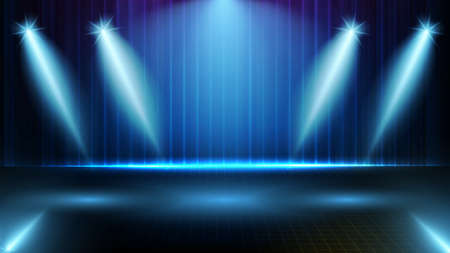 abstract futuristic background of blue empty stage and neon lighting spotlgiht stage background Banque d'images - 150756005