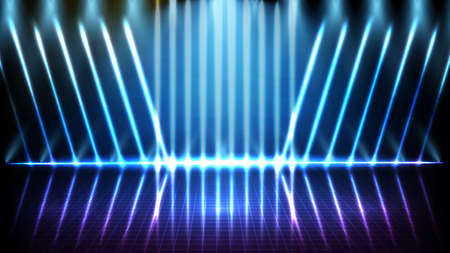 abstract futuristic background of blue empty stage and neon lighting spotlight stage background