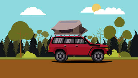 Vector illustration of flat design red off road vehicle car camping with roof top tent with nature scene