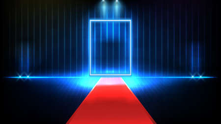 abstract futuristic background of red empty stage covered with red carpet and lighting spotlgiht stage background, key to success concept