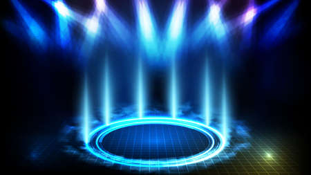 abstract futuristic background of blue empty stage and circle neon lighting stage with smoke background