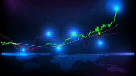 abstract background of stock market gold indicator candle graph