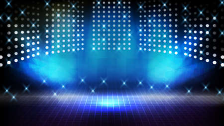 abstract futuristic background of blue empty stage Stairs covered with red carpet and lighting spotlgiht stage background