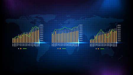 Abstract background of blue industry outlook graph and world map Vektoros illusztráció
