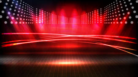 abstract futuristic background of red empty stage arena stadium spotlgiht stage background Vectores