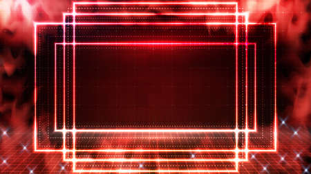 abstract background of glowing red neon frame and smoke