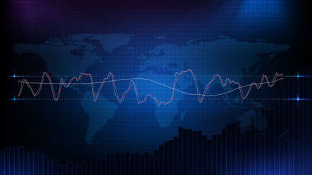 abstract background of stock market with macd rsi stochastic strategy and world map