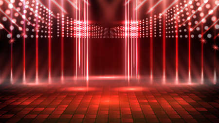 abstract futuristic background of red empty stage and neon lighting spotlgiht stage background 免版税图像