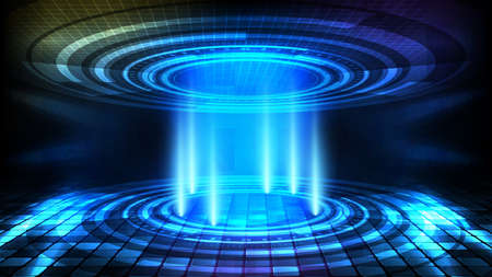 abstract background of round futuristic technology user interface screen hud and lighting empty stage spotlight background 矢量图像