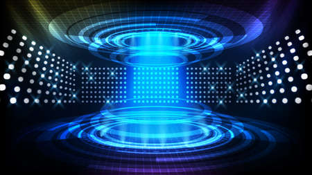 abstract background of futuristic teleportation tube, hud interface display