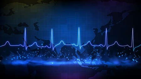 abstract background of digital ECG heartbeat pulse line wave monitor and southeast asia maps 矢量图像