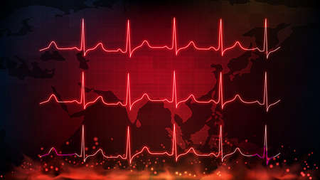 abstract background of digital ECG heartbeat pulse line wave monitor and southeast asia maps Vectores