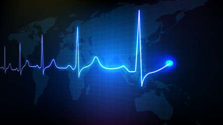 abstract background of blue futuristic technology digital ECG heartbeat pulse line wave monitor and world map
