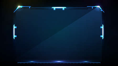 abstract futuristic background of blue glowing technology sci fi frame hud ui Vectores