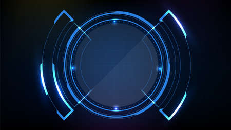abstract futuristic background of blue circl round glowing technology sci fi frame hud ui