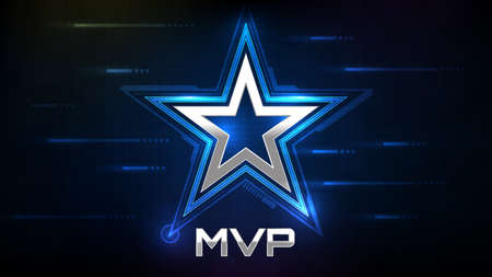 abstract glowing background of blue star and MVP(most valuable player) sign Vectores