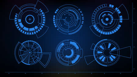 Abstract futuristic background of Circle interface sci fi frame hud ui collection