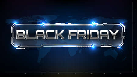 abstract futuristic background of black friday sign text with sci fi hud element ui Vectores