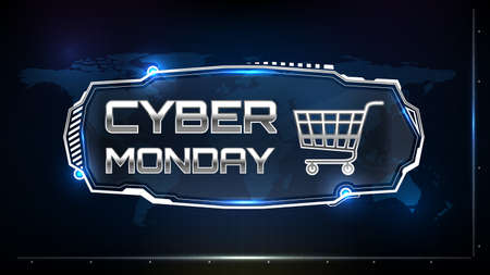 abstract futuristic background of cyber monday sign text with sci fi hud element ui